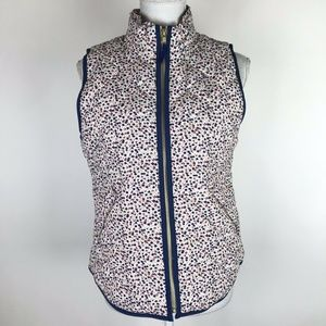 J. Crew Ruffle Puffer Vest White Blue Pink Floral